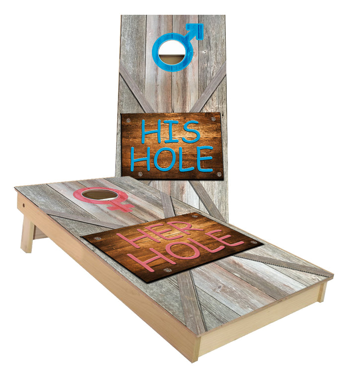 His Hole Her Hole Traditional Cornhole Boards