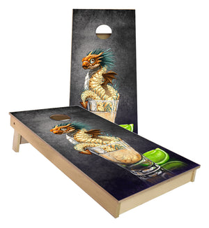 Tequila Worm Dragon and Drink Art by Stanley Morrison Cornhole Boards