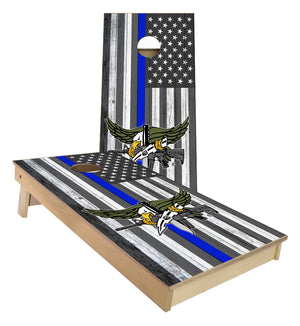 Thin Blue Line Flag with SWAT Logo Cornhole Boards