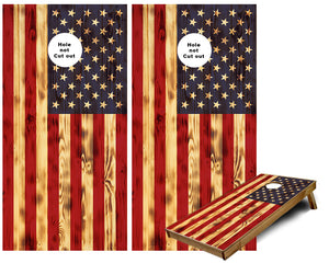 American Flag burned wood look Cornhole Wraps