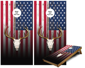 US Flag Deer Skull Cornhole Wraps
