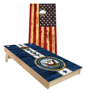 US Navy and Rustic American Flag Cornhole Boards