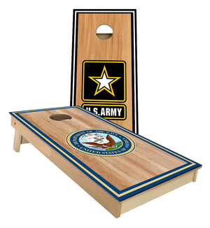 Army and Navy cornhole board set with stripes