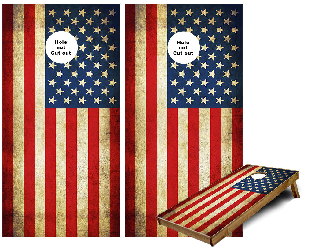 American Flag grunge background Cornhole Wraps