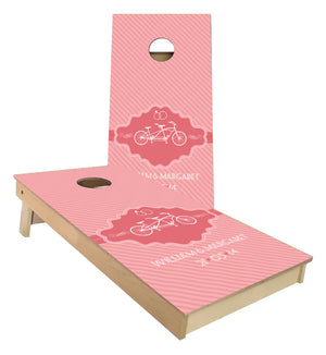 Wedding Monogram Pink Bike cornhole boards