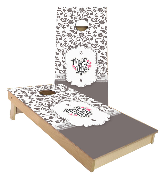 Grey Floral Wedding Design cornhole boards