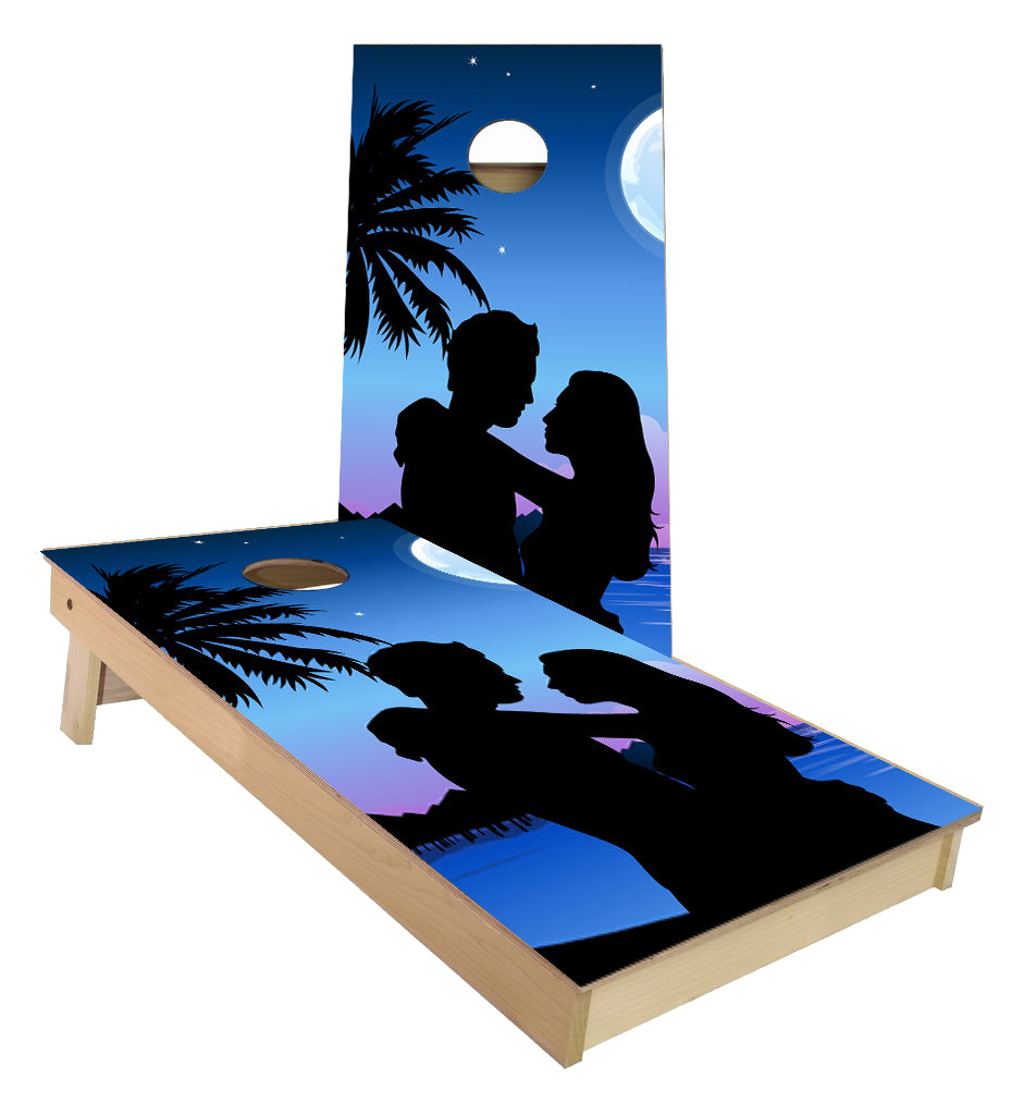 Romantic Palm Tree Love Wedding cornhole boards