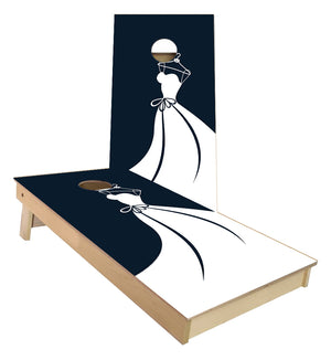 Brides Wedding Dress cornhole boards