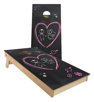 Chalkboard Bride Groom Wedding cornhole boards