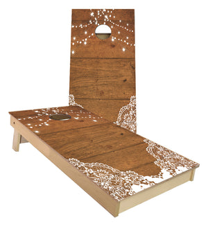 Barn Wood Wedding Lights cornhole boards