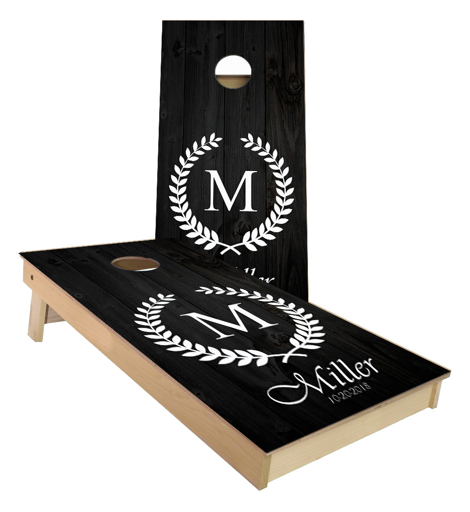 Monogram Leaf Wedding Letter Cornhole boards