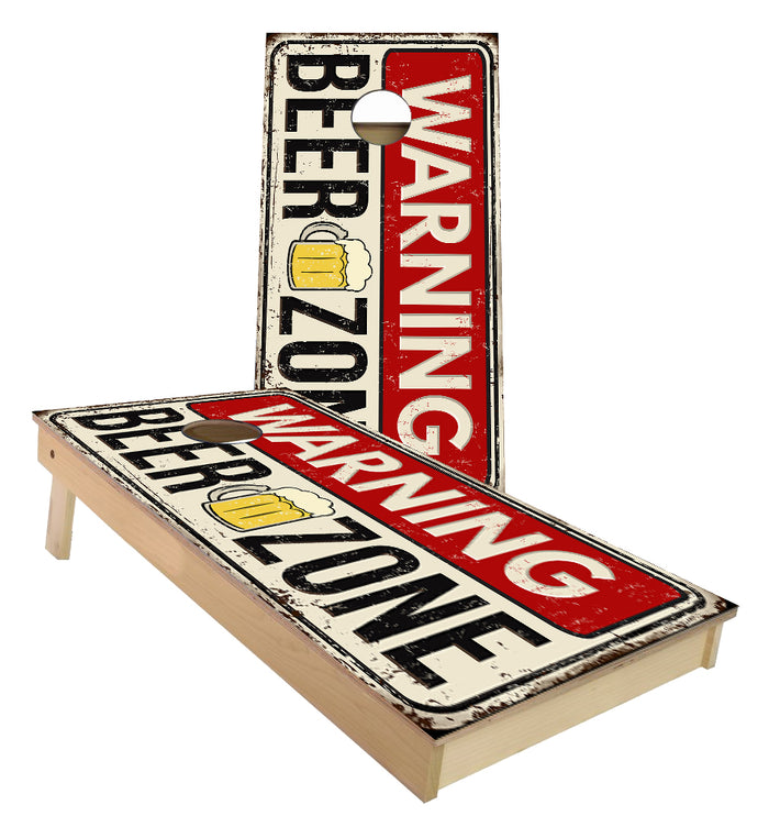 Warning Beer Zone custom Cornhole Boards