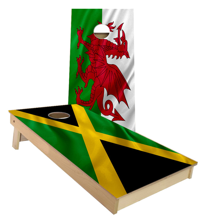 Jamaican and Welsh Flag Cornhole Boards