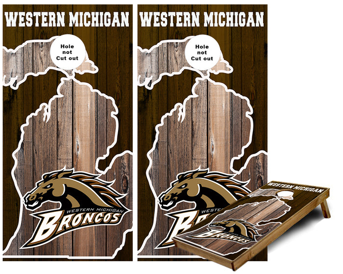 Western Michigan University Broncos Michigan Outline  Cornhole Wraps
