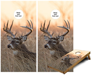 White Tail Buck Deer in Tall Grass Cornhole Wraps