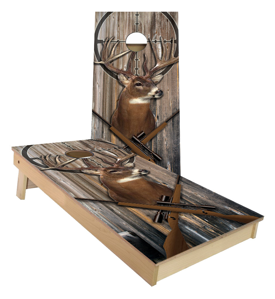 Buck on Wall Scope Sight Cornhole Boards