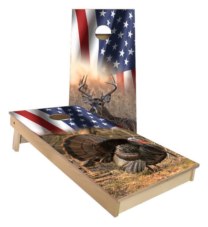 American Flag Wild Turkey and Whitetail Deer Buck cornhole boards
