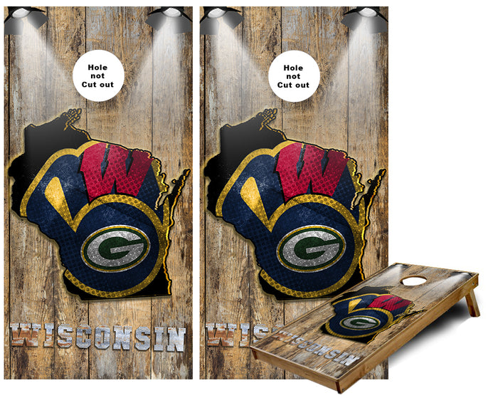 Wisconsin Teams Rustic wall Cornhole Wraps