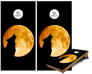 Wolf Howling at the Golden Moon cornhole wraps