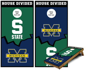 Michigan Wolverines and Michigan State Spartans House divided Cornhole Wraps