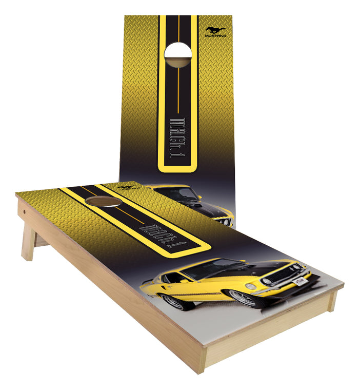 Yellow Ford Mach 1 custom cornhole boards