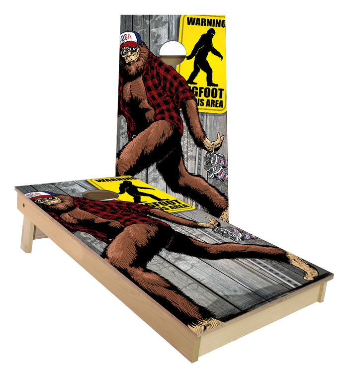 Big Foot with American Hat and 6 Pack Cornhole Boards