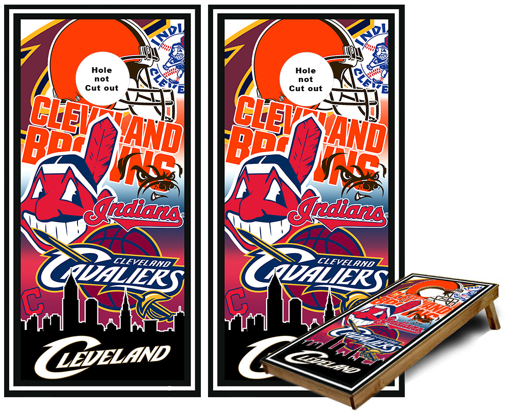 Cleveland Sports Teams Cornhole Wraps
