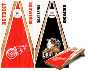 Detroit Redwings and Grand Rapids Griffins Cornhole Wraps