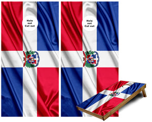 Dominican Republic waving flag Cornhole Wraps