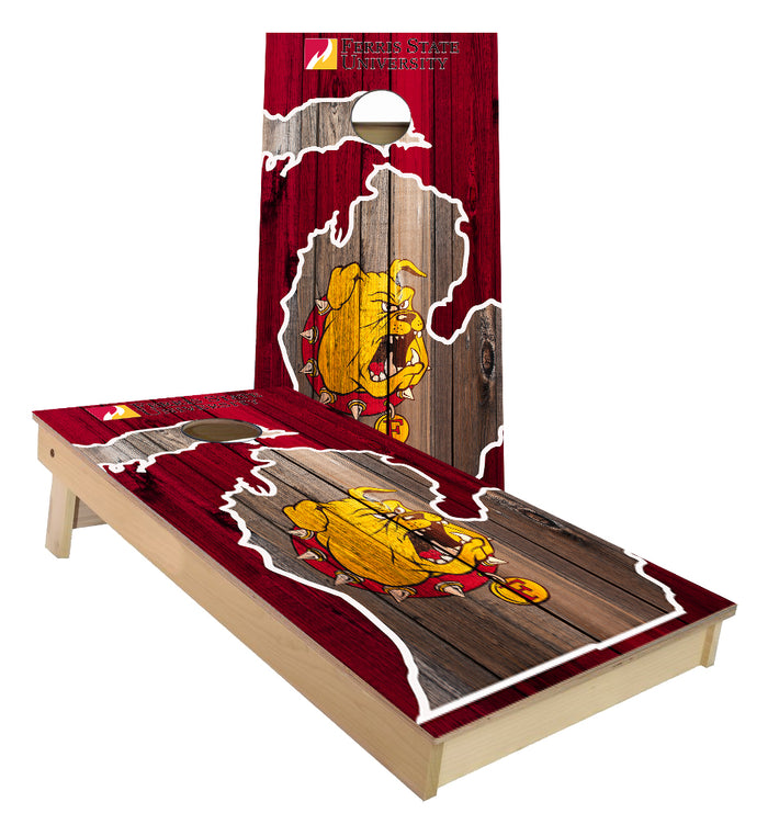 Ferris State University in state outline Cornhole Boards
