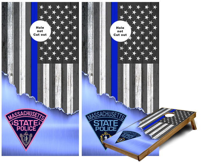 Massachusetts State Police Thin Blue Line American Flag torn Metal Cornhole Wraps with Breast Cancer awareness logo