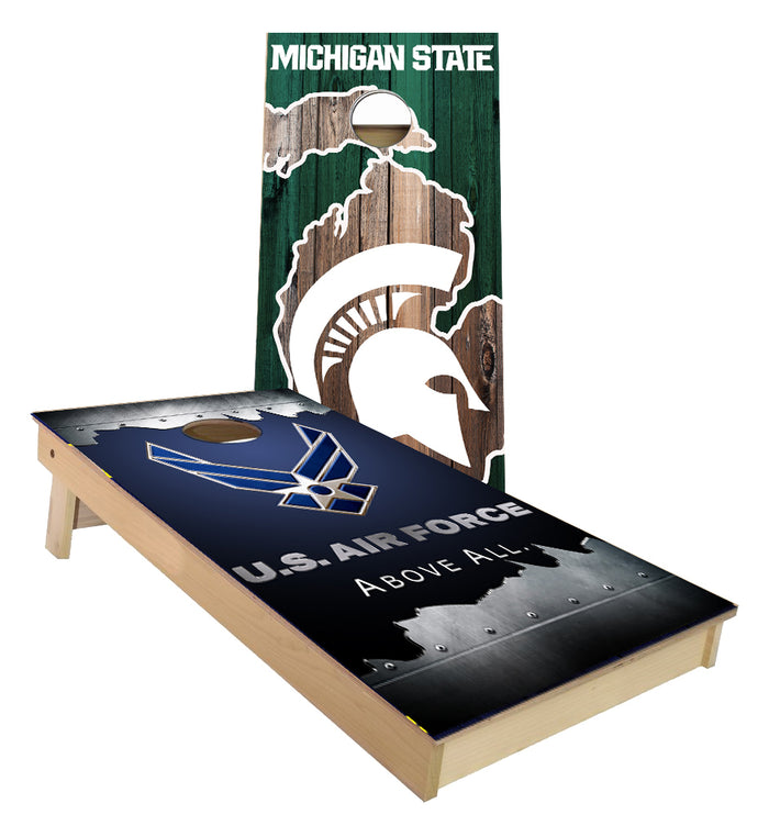 Michigan State and Air force Jagged metal Cornhole Boards