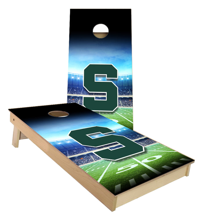 Michigan State S football field cornhole boards