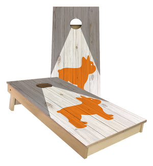 Orange dog triangle Cornhole Boards