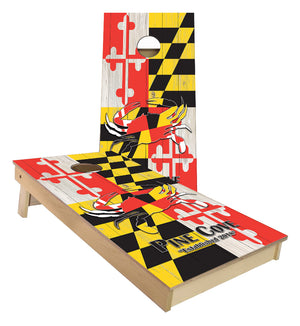 Pine Cove Crab Maryland Flag Custom Cornhole Boards