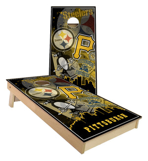 Pittsburgh Steelers Pirates Penguins Pitt Panthers City Skyline Cornhole Boards