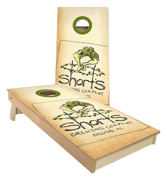 Shorts Brewery Bellaire Michigan cornhole boards