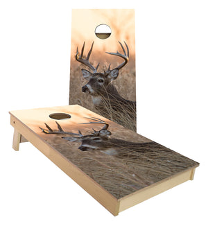 White Tail Buck Deer Tall Grass cornhole boards
