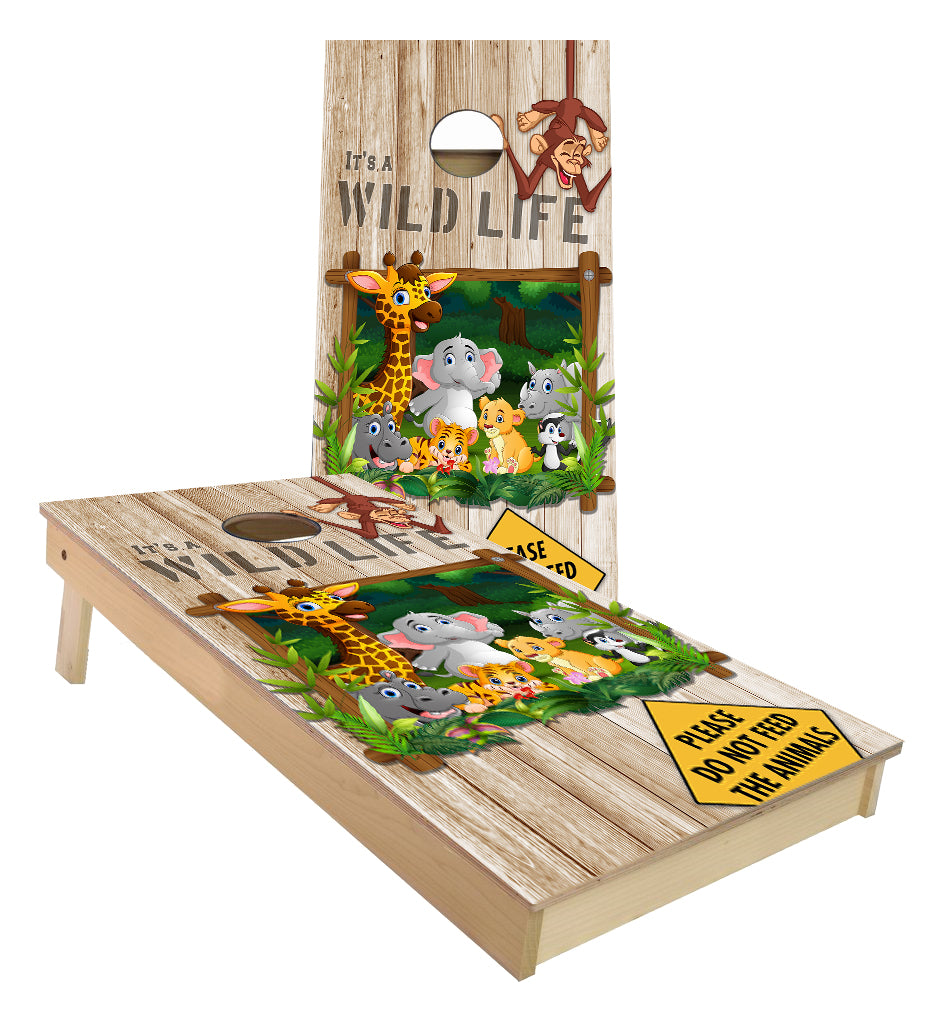 Jungle Animals Zoo critters Monkey Elephant Lion Wild Life Cornhole Boards