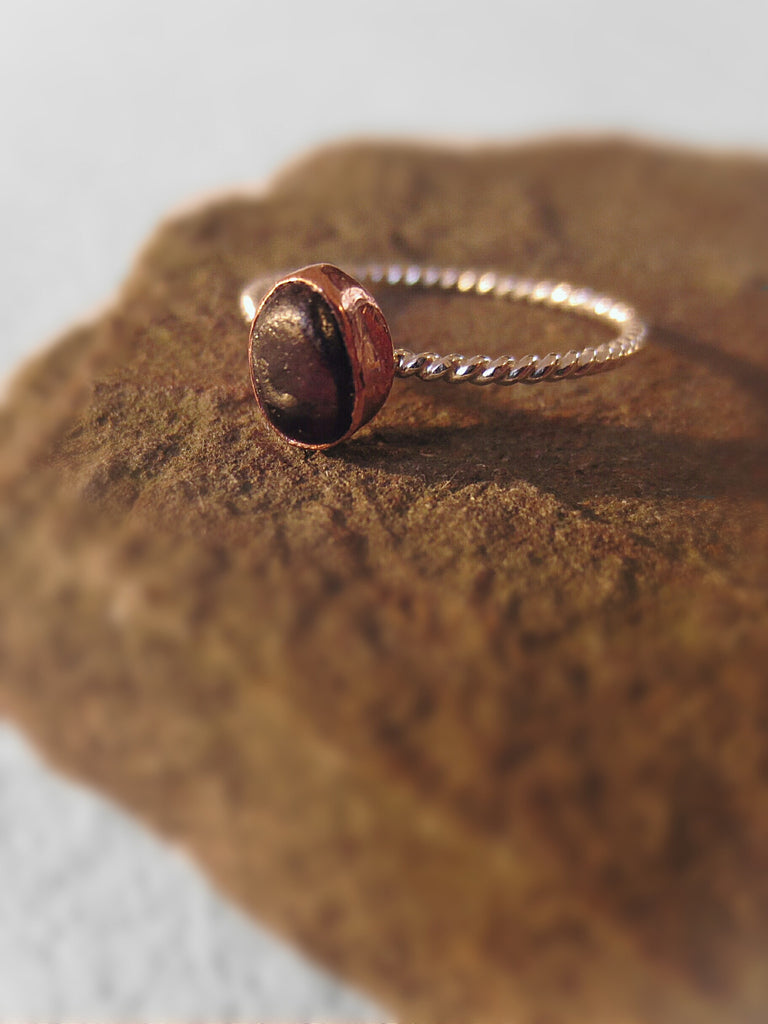 Raw Garnet Twist Ring