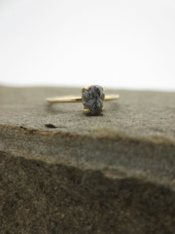 Raw Black Diamond Engagement Ring