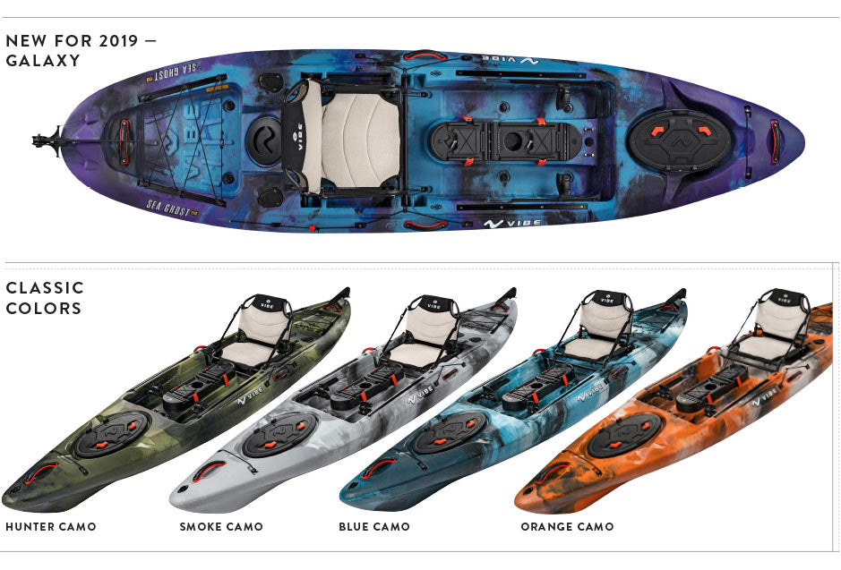 2019 Vibe Sea Ghost Fishing Kayak Color Lineup