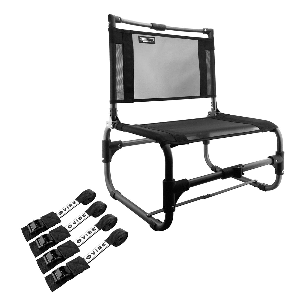 Larry Chair Folding Outdoor Chair - Aluminum - w Accessory Tie Down Straps