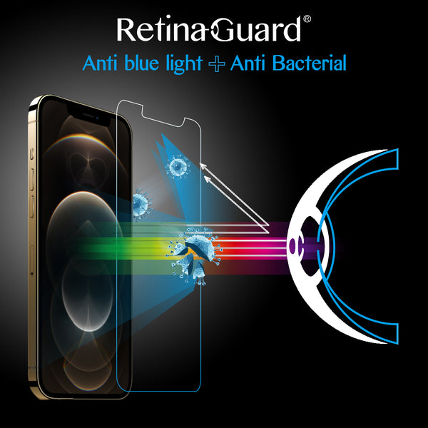 Antibacterial & Anti-Blue light Tempered Glass Screen Protector - iPhone 12 / 12mini / 12 Pro / 12 Pro Max
