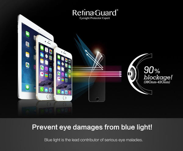 Anti blue light tempered glass screen protectors for iPhone 5s / SE / iPhone 6s / iPhone 6s plus / iPhone 7 / iPhone 7s plus - RetinaGuard Store - Anti-Blue Light Screen Protectors for iPhone 7, 7 Plus, 6s, 6s Plus, iPads and Macbooks