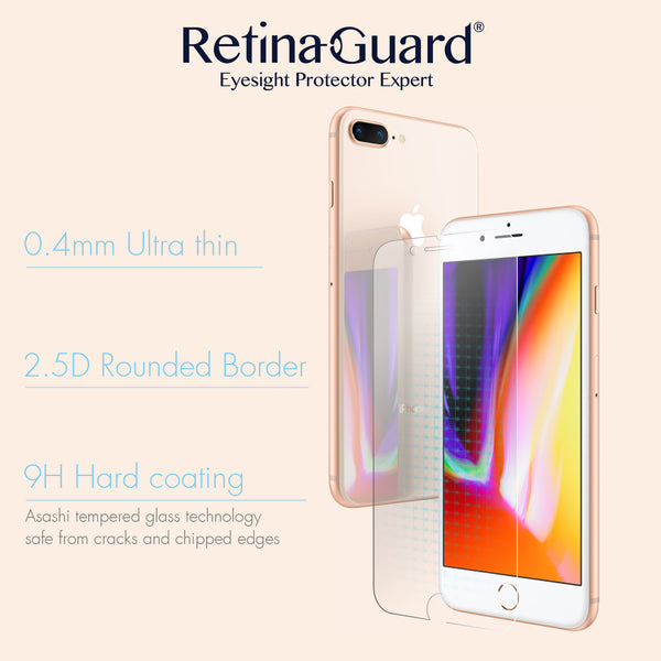 Anti Blue Light Tempered Glass Screen Protector for iPhone 8(Plus)