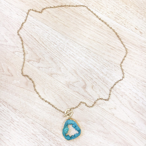 Gold Bead Turquoise Agate Necklace