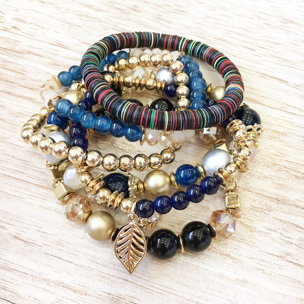 Multi Colored Bead Bracelet Stack