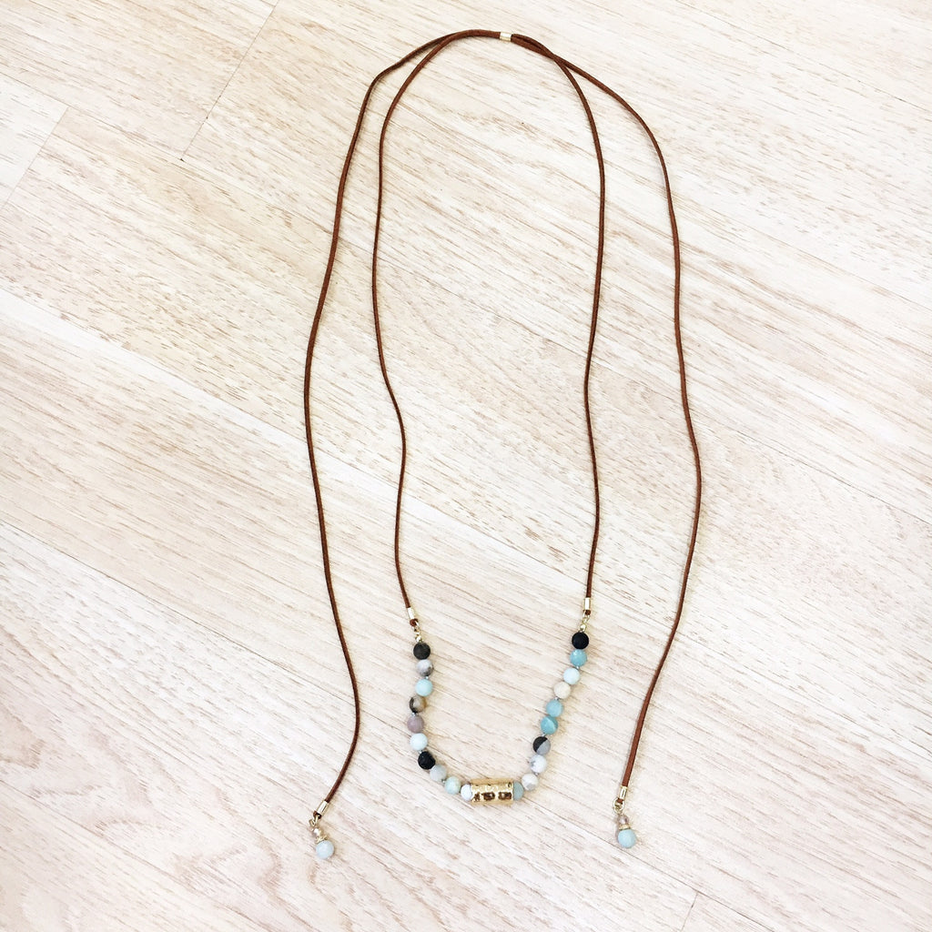 Suede Natural Stone Bead Lariat Necklace