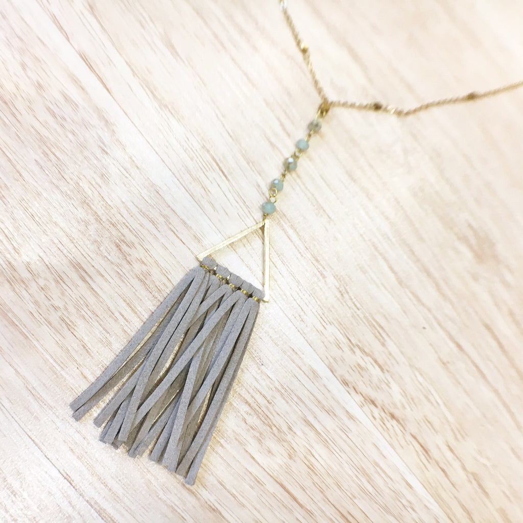 Turquoise and Gold Bead with Gray Suede Tassel Necklace